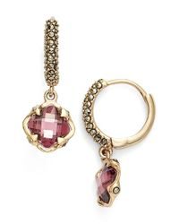 Judith Jack | Metallic 'huggie' Hoop Drop Earrings - Burgundy | Lyst