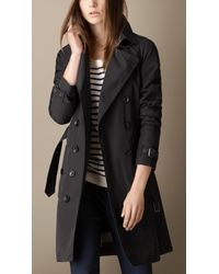 Burberry Black Midlength Trench Coat with Check Warmer