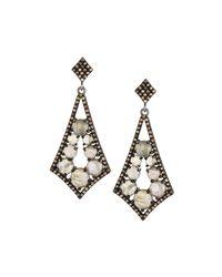 Bavna | Black Mixed Labradorite & Diamond Drop Earrings | Lyst