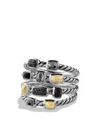 David Yurman Metallic Confetti Ring With Black Onyx, Black Diamonds And Gold