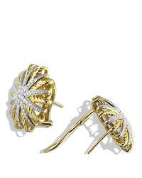 David Yurman Yellow Starburst Earrings With Diamonds In 18k Gold, 14mm