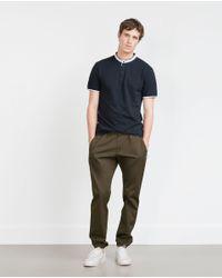 Zara | Blue Mao Collar Polo Shirt for Men | Lyst
