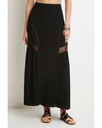 Forever 21 - Black Floral Lace Trim Maxi Skirt - Lyst