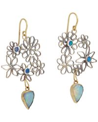 Judy Geib - Blue Opal Flowery Double-drop Earrings - Lyst