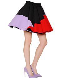 Fausto Puglisi Multicolor Flared Wool Crepe Skirt