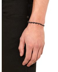 Bottega Veneta Brown Oxidised-Silver And Woven Leather Bracelet for men