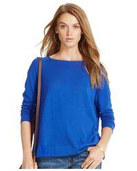 Polo Ralph Lauren Blue Silk-cotton Boat-neck Sweater
