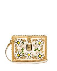 Dolce & Gabbana   Metallic Daisy Embellished Padlock Box Clutch   Lyst