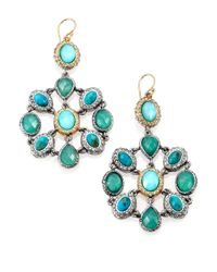 Alexis Bittar | Blue Chrysocolla Chrysoprase Turquoise Mosaic Drop Earrings | Lyst