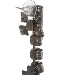 Lanvin Metallic Gunmetaltone Glass Crystal Drop Earrings