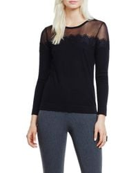 Vince Camuto | Black Sheer Yoke Lace Trim Sweater | Lyst