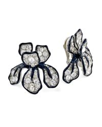 Kenneth Jay Lane | Natural Crystal Flower Clip Earring | Lyst