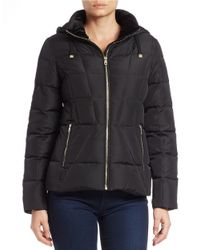 Calvin Klein | Black Hooded Puffer Jacket | Lyst