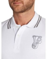 Versace Jeans | White Slim Fit Tipped Collar Logo Polo Shirt for Men | Lyst