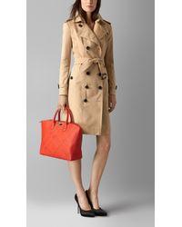 Burberry - Orange Medium Embossed Check Leather Tote Bag - Lyst