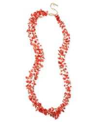 Kenneth Cole | Red Gold-tone Semi-precious Coral Chip Bead Multi-row Necklace | Lyst