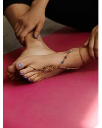 Free People | Metallic Macrame Anklet | Lyst