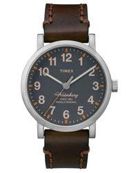 Timex Metallic Men's Waterbury Brown Leather Strap Watch 40mm Tw2p58700ab for men