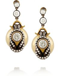 Fred Leighton - Black Silvertopped 18karat Gold Diamond Earrings - Lyst