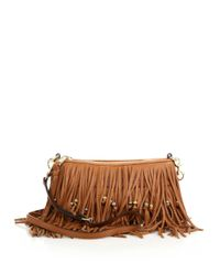 Rebecca Minkoff | Brown Finn Beaded Fringed Convertible Leather Crossbody Bag | Lyst