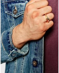 ASOS - Metallic Hinge Detail Ring In Gold for Men - Lyst
