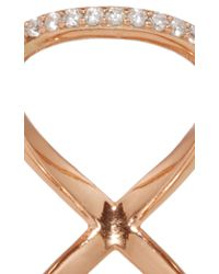 Fallon - Metallic Rose Gold Pavé Infinity Ring - Lyst
