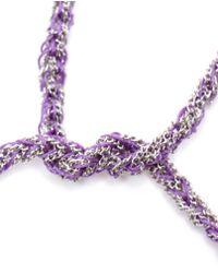 Carolina Bucci Purple Woven White Gold And Silk Friendship Bracelet