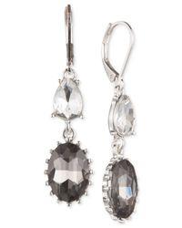 Nine West | Metallic Silver-tone Crystal Double Drop Earrings | Lyst
