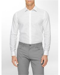 Calvin Klein - White Label Classic Fit Textured Dobby Roll-up Sleeve Shirt for Men - Lyst