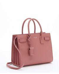 Saint Laurent - Pink Leather 'baby Sac De Jour' Convertible Tote - Lyst
