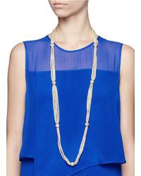 Kenneth Jay Lane White Multi Strand Pearl Long Necklace