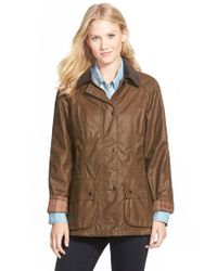 Barbour | Brown 'Beadnell' Waxed Cotton Jacket | Lyst