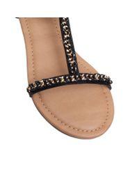 Miss Kg Black Roz Flat Strappy Sandals