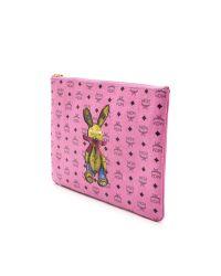 MCM Rabbit Print Medium Pouch - Pink