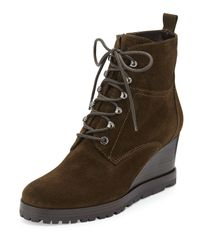 Aquatalia | Green Chance Suede Lace-Up Wedge Boot | Lyst