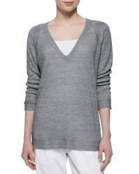 Eileen Fisher - Gray Linen Tunic Sweater - Lyst