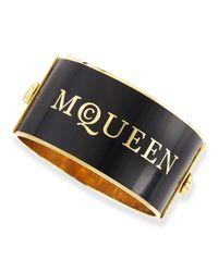 Alexander McQueen Black Large Logo Enamel Cuff