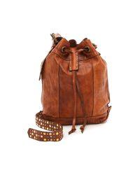 Campomaggi Brown Studded Bucket Bag - Cognac