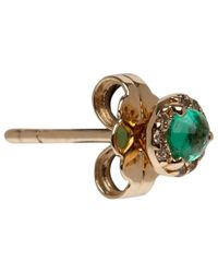 Anna Sheffield | Metallic Tiny Gold Emerald and Diamond Rosette Stud Earrings | Lyst