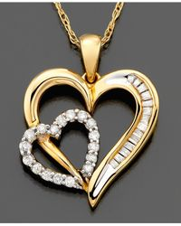 Macy's - Metallic Diamond Heart Pendant Necklace In 14K Gold (1/5 Ct. T.W.) - Lyst