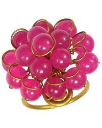 Aeravida | Metallic Unique Handmade Front Cluster Pink Quartz Organic Ring | Lyst