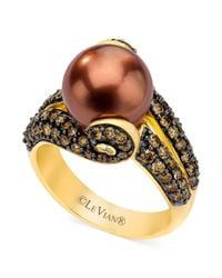 Le Vian - Brown Tahitian Pearl 10mm and Diamond 113 Ct Tw Ring in 14k Gold - Lyst