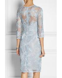Lela Rose - Blue Chantilly Lace Dress - Lyst