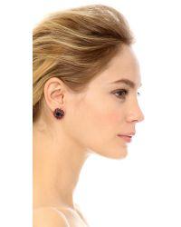 Oscar de la Renta Purple Classic Crystal Button Earrings - Aubergine/Magenta