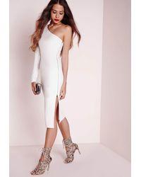 Missguided One Shoulder Zip Detail Midi Dress White