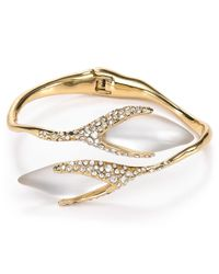 Alexis Bittar Metallic Lucite Pave Flower Bud Bypass Hinge Bangle