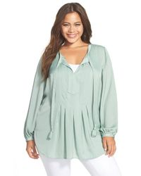 Two By Vince Camuto - Green Charmeuse Peasant Blouse - Lyst