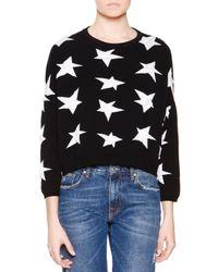 MSGM Black Star Intarsia Sweater