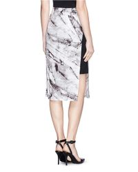 Helmut Lang Gray 'Terrene' Marble Print Double Layer Jersey Skirt