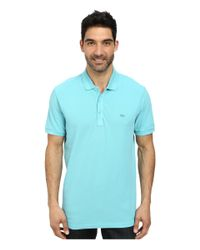 Lacoste | Blue Cotton Pique Vintage Wash Polo With Chevron Rib for Men | Lyst